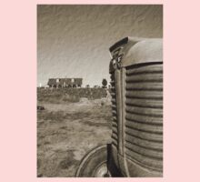 Farm and Tractor Country Scene Sepia Brown Tone Photo Kids Clothes