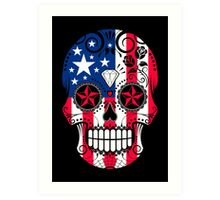 Sugar Skull with Roses and Flag of United States Art Print