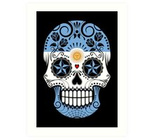 Sugar Skull with Roses and Flag of Argentina Art Print