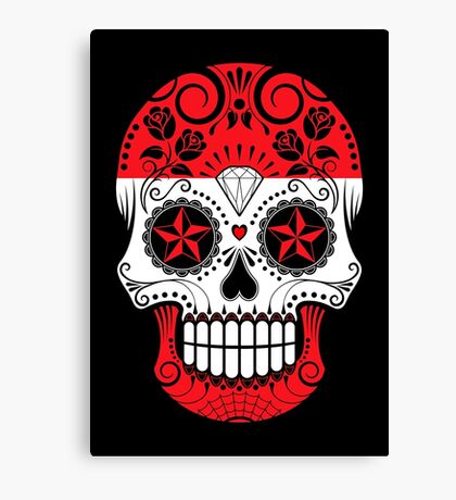 Sugar Skull with Roses and Flag of Austria Canvas Print