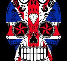 Sugar Skull with Roses and Union Jack by Jeff Bartels