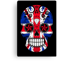 Sugar Skull with Roses and Union Jack Canvas Print