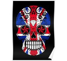 Sugar Skull with Roses and Union Jack Poster