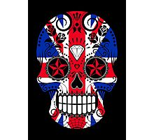 Sugar Skull with Roses and Union Jack Photographic Print