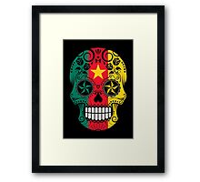 Sugar Skull with Roses and Flag of Cameroon Framed Print