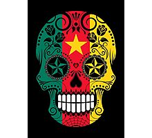 Sugar Skull with Roses and Flag of Cameroon Photographic Print