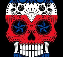 Sugar Skull with Roses and Flag of Costa Rica by Jeff Bartels
