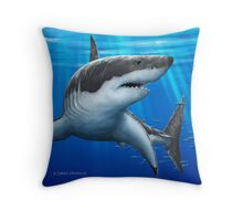 Blue Predator - Great White Shark Throw Pillow