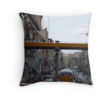 Maltese Street through the eyes of a bus! Throw Pillow