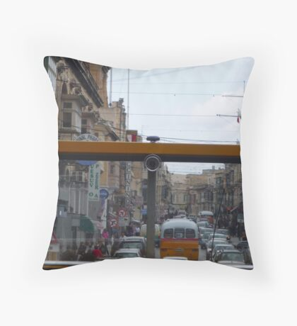 Maltese Street through the eyes of a bus! Throw Pillow