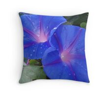beautiful flowers with glowing bright heart Throw Pillow