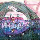"Girl in a Field of Blue Flowers- Drawing by Belinda ""BillyLee"" NYE (Printmaker)"