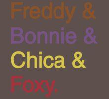 freddy & bonnie & chica & foxy Baby Tee