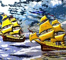 Ships of the Line Heading for Battle - all products bar duvet by Dennis Melling