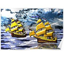 Ships of the Line Heading for Battle - all products bar duvet Poster