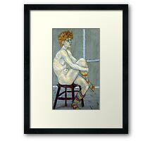 Woman in coloured socks Framed Print