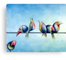 Finches On Parade - Excerpt One Canvas Print