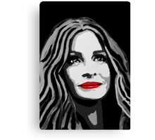 A pretty woman with a charming smile (black and white) Canvas Print
