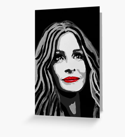 A pretty woman with a charming smile (black and white) Greeting Card
