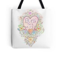 Bless this mess psychedelic doodle art Tote Bag