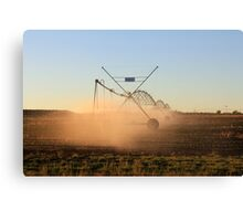 On a farm in Orania, Northern Cape, South Africa. Irrigation Canvas Print