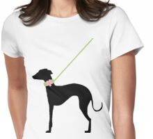 Italian Greyhound Pink Flower Womens Fitted T-Shirt