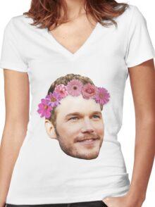 Chris Pratt Flower Crown Women's Fitted V-Neck T-Shirt