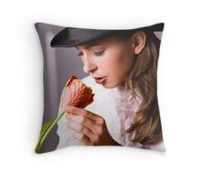 Woman with flower Throw Pillow