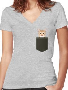 Chase - Cute Orange Tabby cat gifts for cat lady cat lovers pet owner gifts cell phone with cute cat Women's Fitted V-Neck T-Shirt