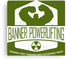 The Incredible Hulk - Banner Powerlifting White Canvas Print