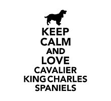 Keep calm and love Cavalier King Charles Spaniels Photographic Print