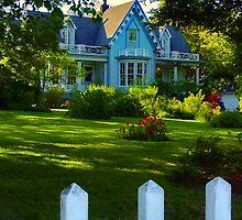 Happy Blue Cottage by Beatrix M Varga
