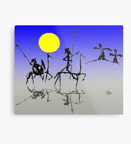 Don Quijote y Sancho Panza - Digital color Metal Print