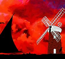 Horsey Drainage Mill & Wherry, Norfolk Broads - all products bar duvet by Dennis Melling