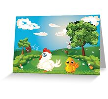 Hen on Lawn Greeting Card