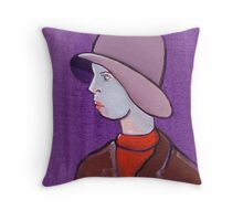 Girl with a cloche hat Throw Pillow