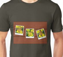 Old photo cards of butterfly on wood background Unisex T-Shirt