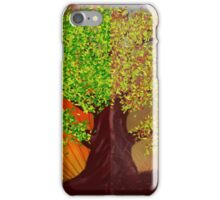 Abstract digital illustration of fantasy tree in autumn and summer season iPhone Case/Skin