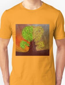 Abstract digital illustration of fantasy tree in autumn and summer season T-Shirt