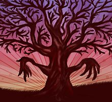 Abstract digital illustration of big leafless fantasy tree by AnnArtshock