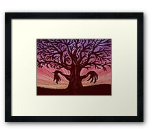Abstract digital illustration of big leafless fantasy tree Framed Print