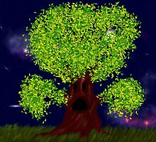 Creepy tree with green leaves at night by AnnArtshock