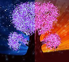 Fantasy tree at night and day time by AnnArtshock
