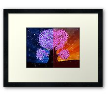 Fantasy tree at night and day time Framed Print