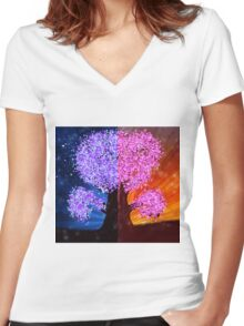 Fantasy tree at night and day time Women's Fitted V-Neck T-Shirt