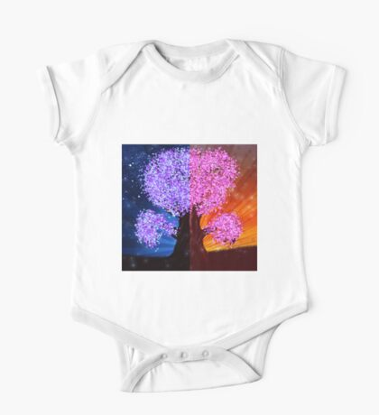 Fantasy tree at night and day time One Piece - Short Sleeve