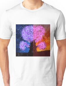 Fantasy tree at night and day time Unisex T-Shirt
