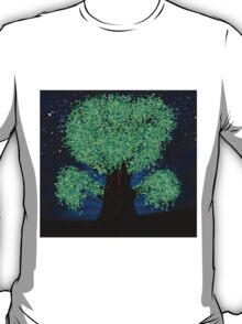 Green fantasy tree at night T-Shirt
