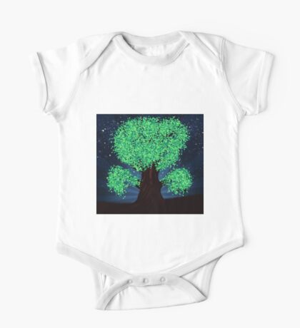 Green fantasy tree at night One Piece - Short Sleeve