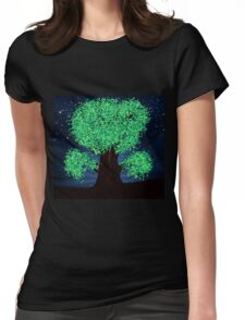 Green fantasy tree at night Womens Fitted T-Shirt